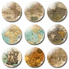 Vintage World Map 30 MM Fridge Magnet Medieval Travel Glass Dome Magnetic Refrigerator Stickers Note Holder Home Decor