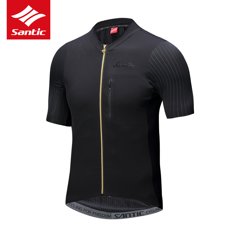 2018 SANTIC Sommer Männer Radfahren Jersey Kurzarm MTB Fahrrad Kleidung für Herren Downhill Kleidung Schwarz Tops Jersey Atmungsaktiv