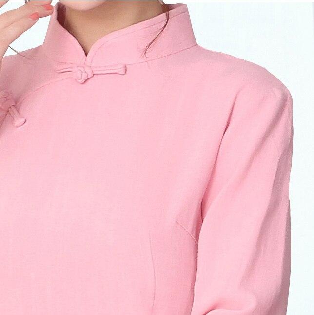 Estilo Las Mandarín Xl092 Tops Otoño Lino L Collar Ropa Algodón S Pink M Xxl De Blusa Señora Camisa blue Largo Primavera Xl Chino Mujeres tqptrw