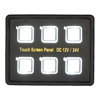 Waterproof 12V 24V 6 Gang LED Switch Panel LED Back Capacitive Touch Screen Panel Car Auto