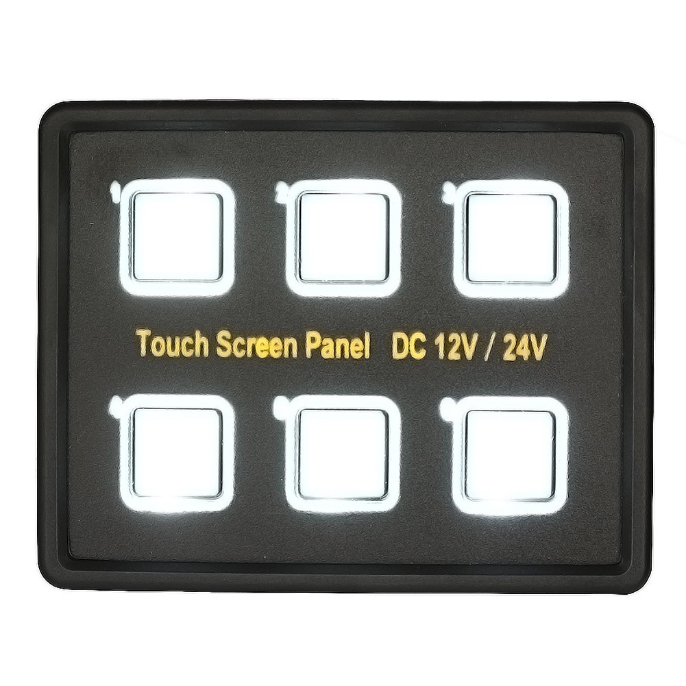Waterproof 12V/24V Truck Boat 6 Gang LED Switch Panel LED Back Capacitive Touch Screen Panel For Car Boat Yachts Caravan Marine