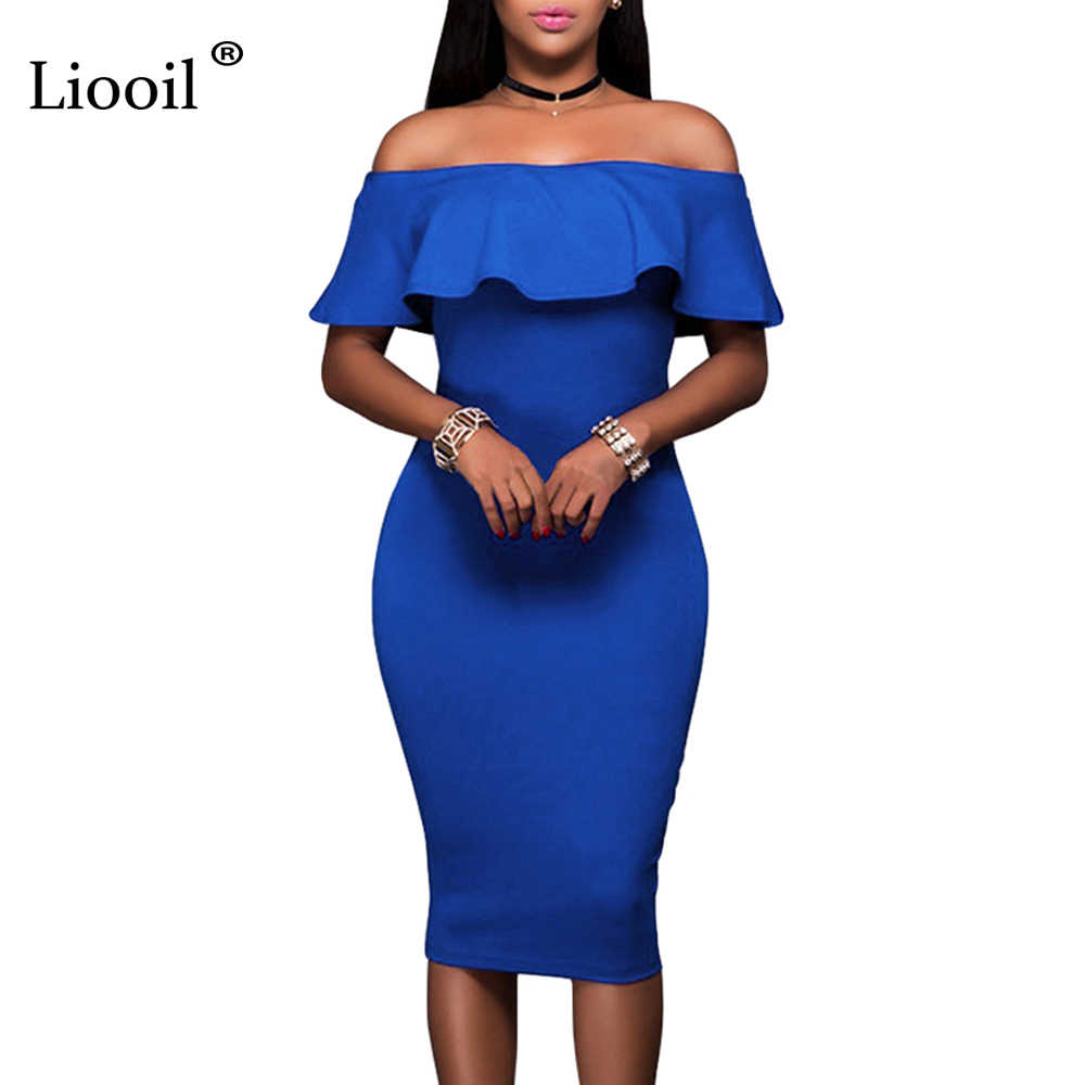 f4b123252949 Liooil 2019 Summer Royal Blue Off The Shoulder Midi Bodycon Dress Sexy  Ruffles Strapless African Women