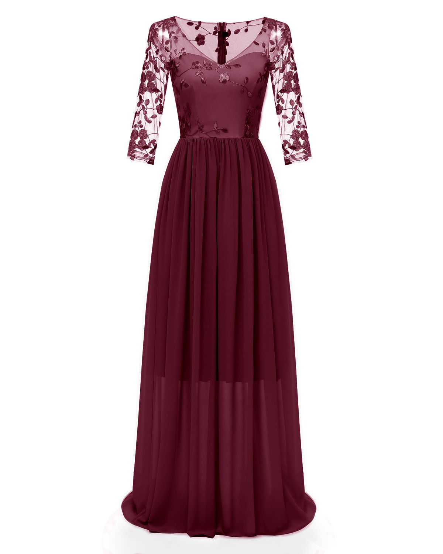 Lace Embroidery V Lead Chiffon Hollow Out Long Dress Woman New Pattern