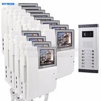 DIYSECUR 4.3 HD Monitor Apartment Video Door Phone Video Intercom Doorbell System 700 TVLine IR Camera Touch Key for 12 Familie