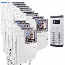 DIYSECUR 4.3″ HD Monitor Apartment Video Door Phone Video Intercom Doorbell System 700 TVLine IR Camera Touch Key for 12 Familie