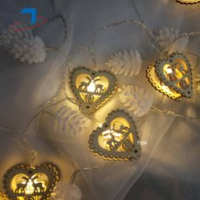 10 LEDS Wooden Holiday Battery String Light Pumpkin Snowflake  Milu Small Bell Candle for Indoor Christmas Decoration