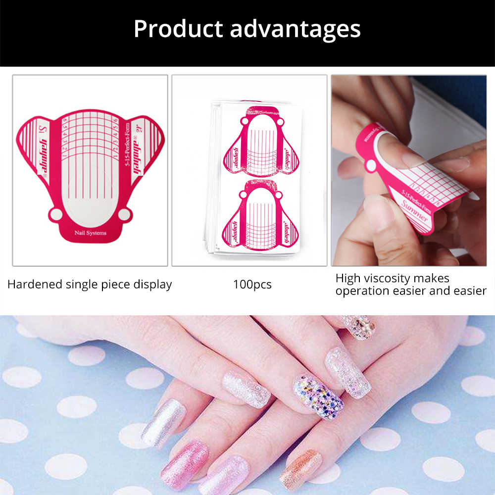 Yayoge 100pcs Nail Forms Punte Unghie artistiche Francese Acrilico UV Gel Tips Extension Builder Acrilico Tip Unghie in Gel Estensione Adesivo