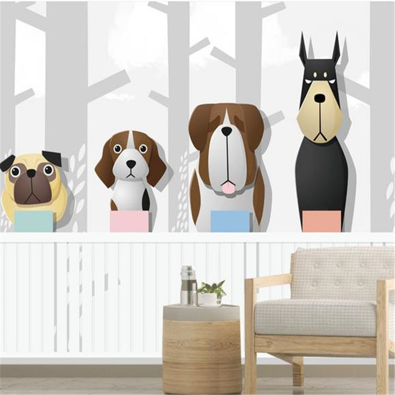 3D Custom Photo Wallpapers Cartoon Tree Forest Walls Murals Kids Room Woods Dogs Bedroom Wall Papers for Living Room Home Decor 3d wallpaper oversized photo frame tree cartoon kids room decorative wall stickers living room bedroom tv background room murals