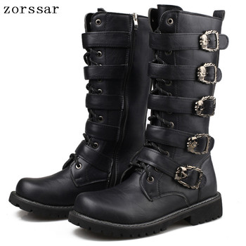 {Zorssar} 2018 New arrival Knee High Boots Mens Military Boots PU Leather Men Long Cowboy boots fashion male Motocycle Boots