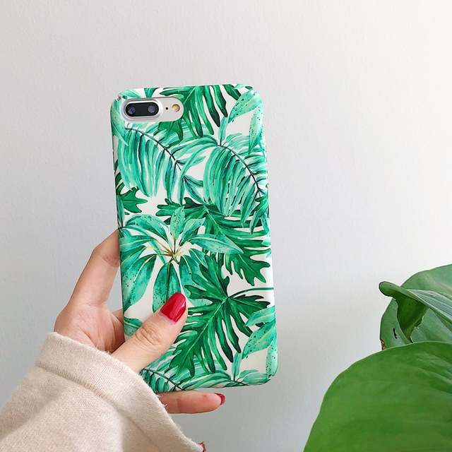c44239833d03 FTAIDKJ Fashion Summer Banana Tropical Leaves Hard Case For iPhone X Case  Green Palms Leaf Back Cover For iPhone 7 6 6S 8 Plus