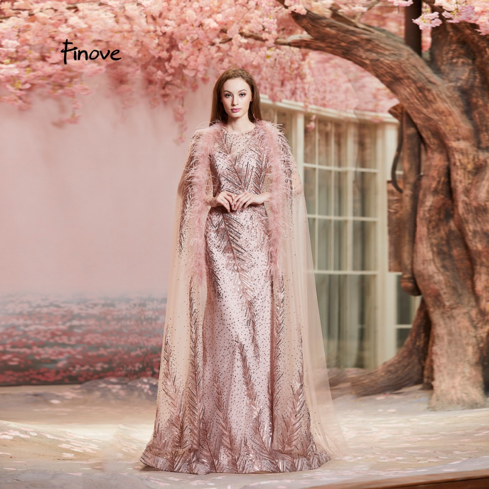Finove Evening Dresses Long 2019 New Arrivals Vintage Rose Golden Cloak Feathers High Neck Formal Party