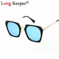 Long Keeper Brand Design Unique Hexagon Glass Square Sunglasses Women Men Lunette De Soleil Femme UV