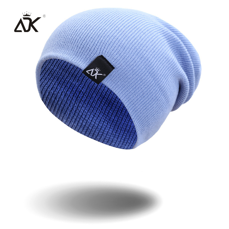 Cotton Blends Hip Hop Beanies For Girl Winter Cap Label Knitted Hat Female Unisex Solid Color Bonnet Casual Slouchy Skullies 2