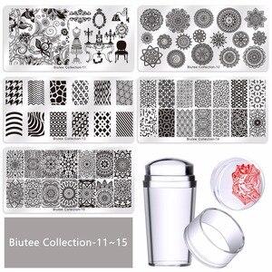 Image 5 - Biutee2020 חם נייל ערכות סט ציפורניים אמנות Stamping מגרד סטמפר פרח Set15 צלחת 1 סטמפר 2 מגרד 1 אחסון תיק
