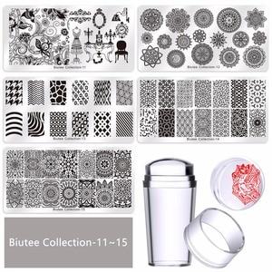 Image 5 - Biutee2020 sıcak tırnak seti seti tırnak sanat tırnak yapıştırması kazıyıcı Stamper çiçek Set15 levha 1Stamper 2 kazıyıcı 1 saklama çantası