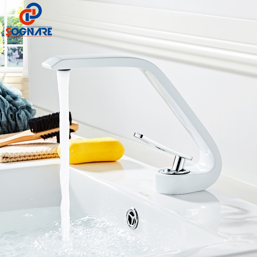 SOGNARE Contemporary White Basin Faucet for Bathroom Sink Faucet Waterfall Sink Faucets Mixer Water Tap torneira para banheiroSOGNARE Contemporary White Basin Faucet for Bathroom Sink Faucet Waterfall Sink Faucets Mixer Water Tap torneira para banheiro