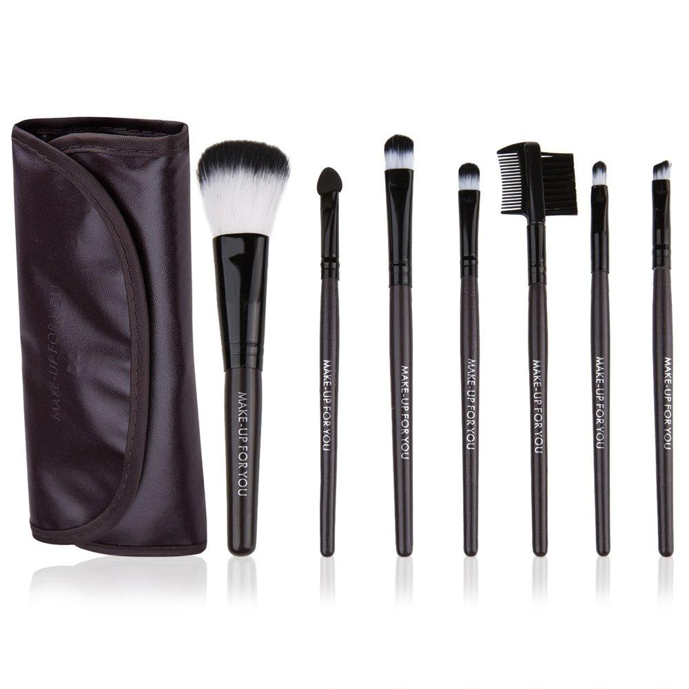 Coffee 7 Pcs Cosmetic Makeup Brush Set Kit With Wooden Handle + Pu Brush Bag Pouch Professional Portable Makeup Tools 8 Colors 7 pcs portable cosmetic wooden handle makeup brushes set make up eye shadow blush brush cosmetic kit with pouch bag