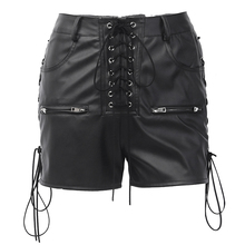 Punk Rock Heavy Black Hot Pants Women Mini Lace up High Waist Leather Shorts for Clubbing Motorcycle Riding Party