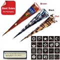 3 Piece Henna Cones Red Brown Black + 15 Stencils 6 * 6cm Temporary Tattoo Kits Body Art Mehandi Ink For Body Paint