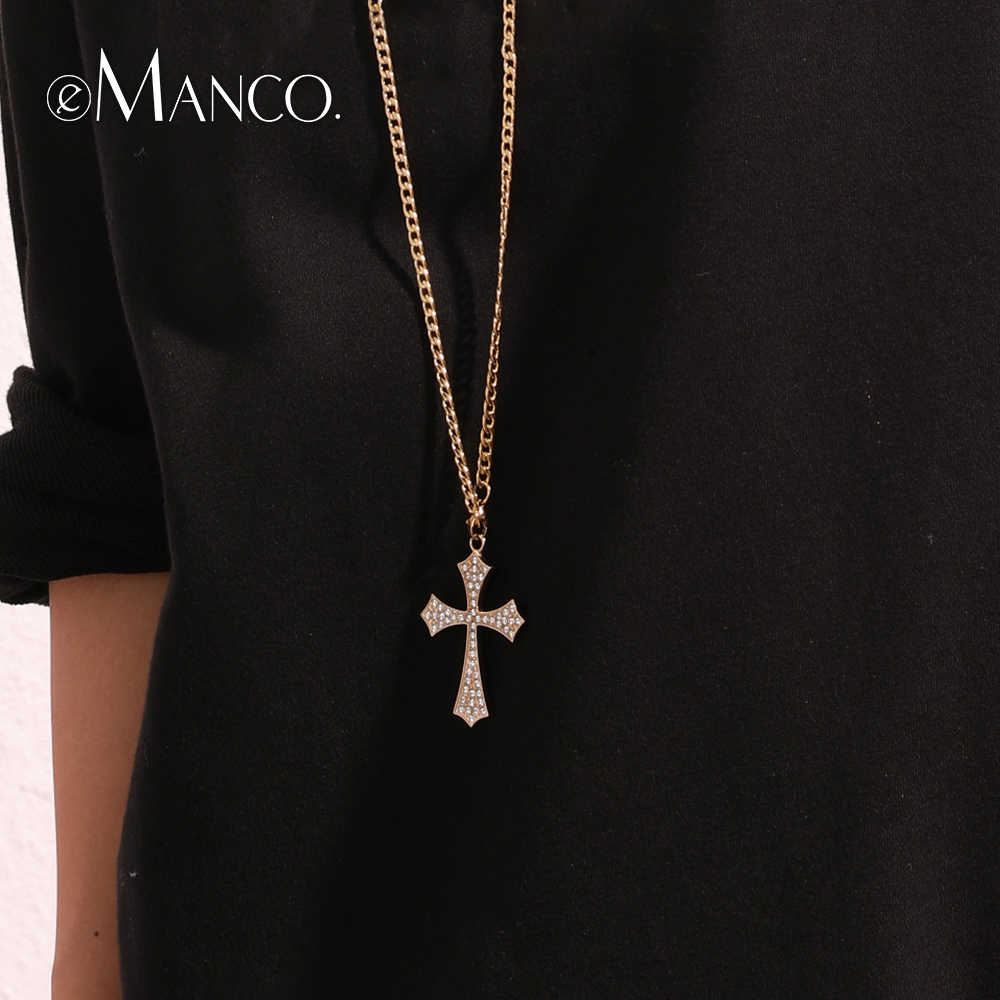 eManco Classic Cross Pendant Necklace Stainless Steel Necklace for Women Gold Color Link Chain Fashion Jewelry Friendship Gifts