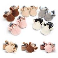 Neugeborenen Baby Mädchen Jungen Herbst Winter Krippe Schuhe 5 Stil Baumwolle Pelz Warme Slip Auf Weiche Sohle Baby Schuhe