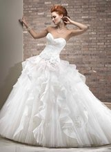 11-25 Elegant Multi-layered Strarpless Lace-up Organza Wedding Gowns