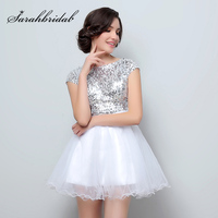 Cheap in Stock Silver Sequined Bodice Homecoming Dresses With Mini Skirt Cap Sleeve Cocktail Party Gown For Graduation OS396