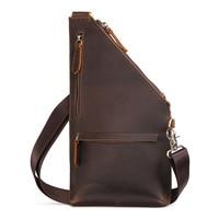 Brand Hand made Genuine Leather Sling Bag Men's Chest Pack Cross Body Shoulder Bags Male Messenger Bag For Cell Phone Wallet