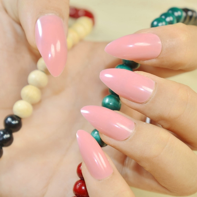 Peach Pink Candy Stiletto Fake Nail Diy Nail Art Full Cover