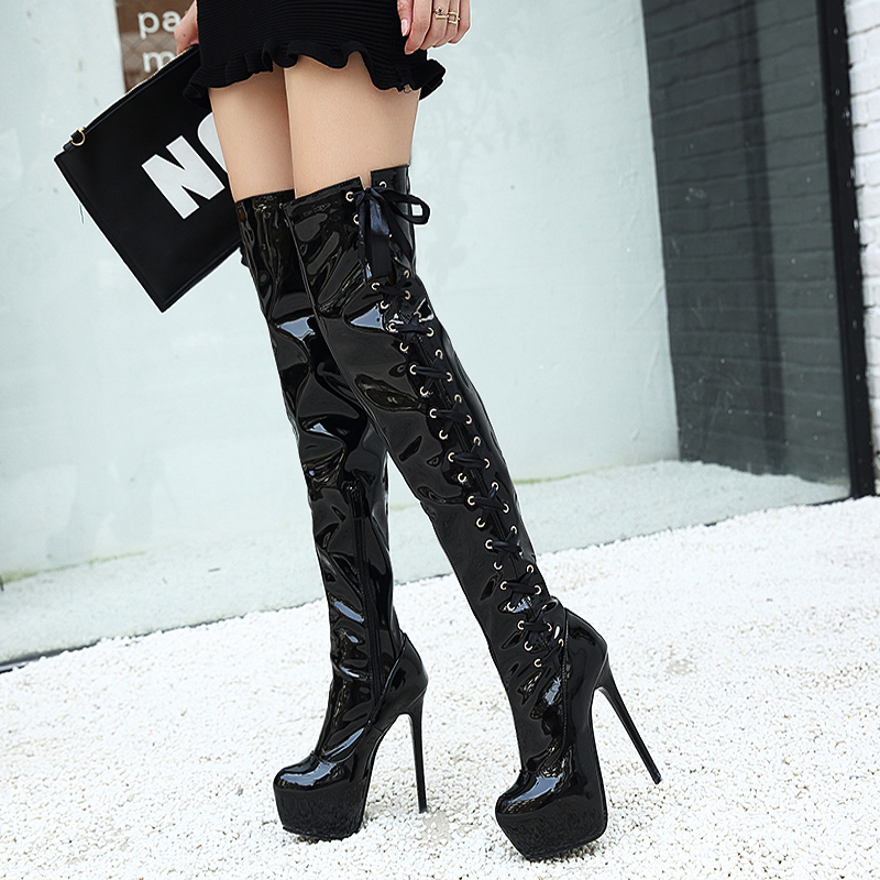 Women boots High Heels over the knee boots sexy heels Snow Long Boot Winter shoes lace up thigh high boots platform shoes LJA449 apoepo punk style silver mirror boots women lace up platform high heels shoes women boots sexy nightclub singer short boots
