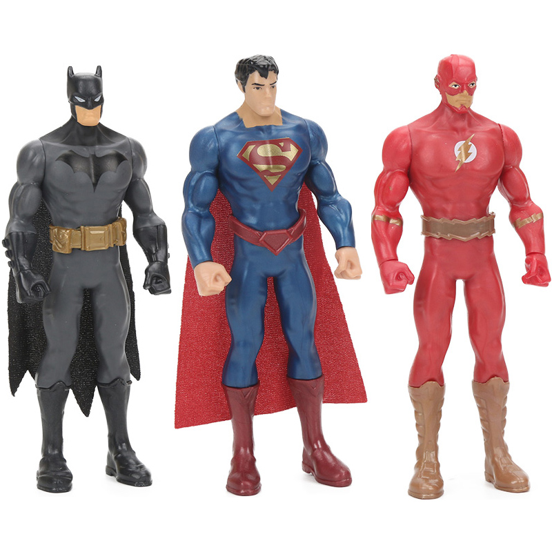 Box Original 15cm Comics Toys Justice League Figure Flash Batman Superman PVC Action Figures Toy Collection Model Dolls image