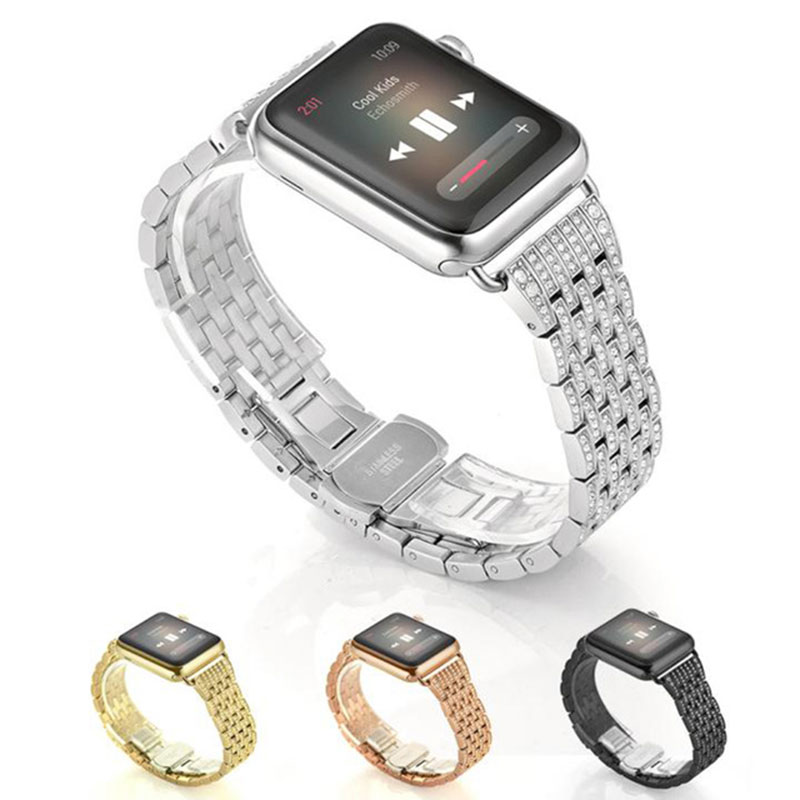Watch Bands for Apple Watch Bands Series 4 3 2 1 For iwatch 4 40mm band 44mm 38mm 42mm Luxury Diamond Crystal Shining Gold Strap image