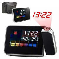 Digital Projection Snooze Alarm Clock LED Display Backlight Weather Station