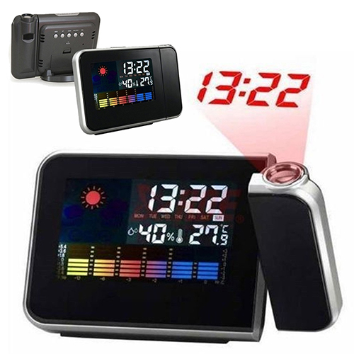 Digital Projection Snooze Alarm Clock LED Display Backlight Weather Station