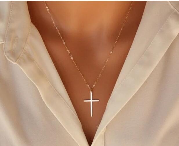 Маленькая подвеска золотого Креста для женщин и детей, Маленькая подвеска золотого цвета, христианские украшения с распятием