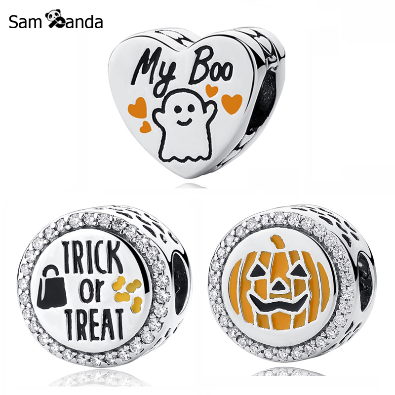 Original 100% 925 Sterling Silver Charm Bead My Boo Pumpkin Charms Halloween Candy Fit Pandora Bracelets Women DIY Jewelry 2015 new spring 925 sterling silver pumpkin charm with gold and cz bead fits pandora bracelets in stock 1pc lot b520