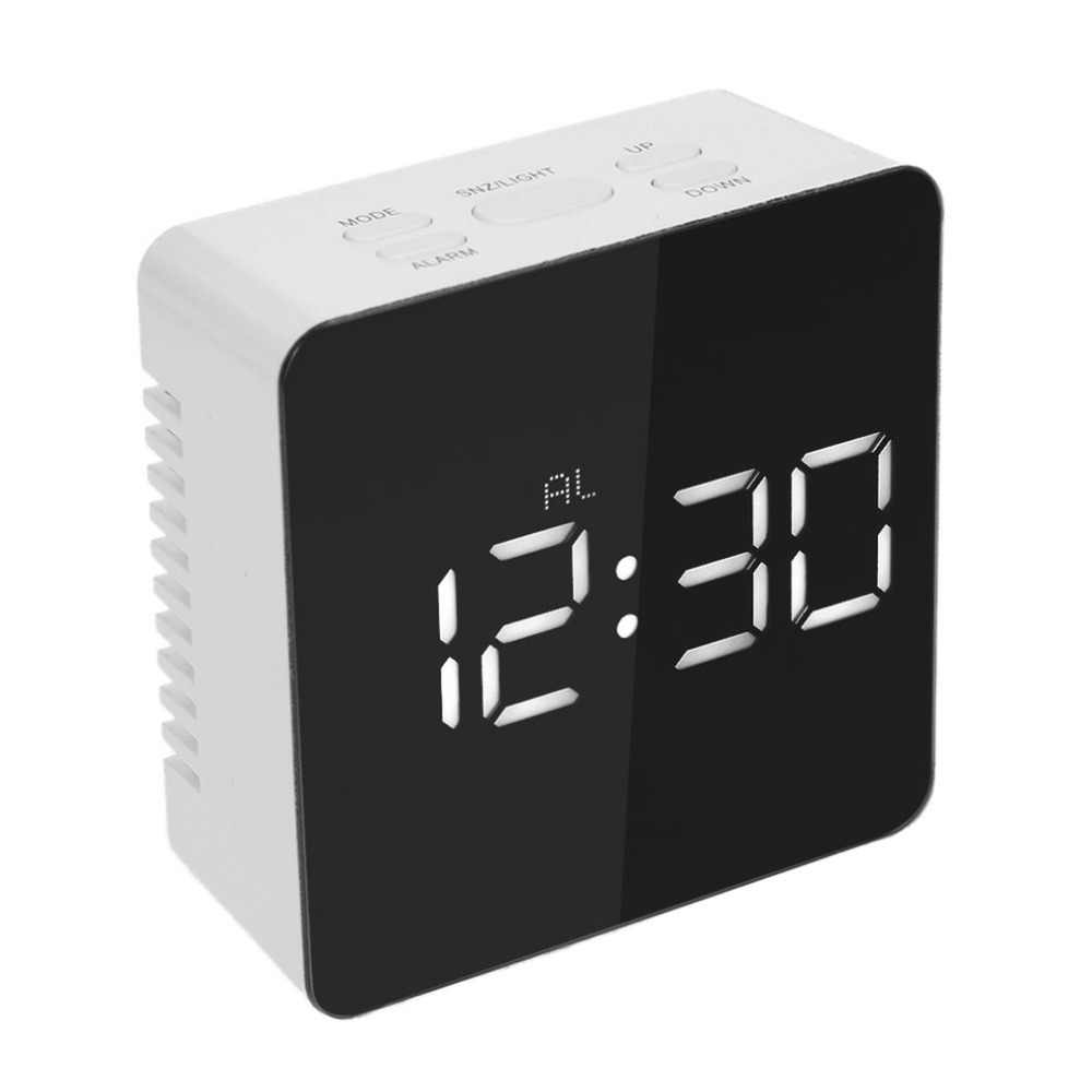 2017 TS-S70 Multifunctional Digital LED Alarm Clock With Temperature Snooze Square Shape Mirror Clock 2 Light Luminescence Level