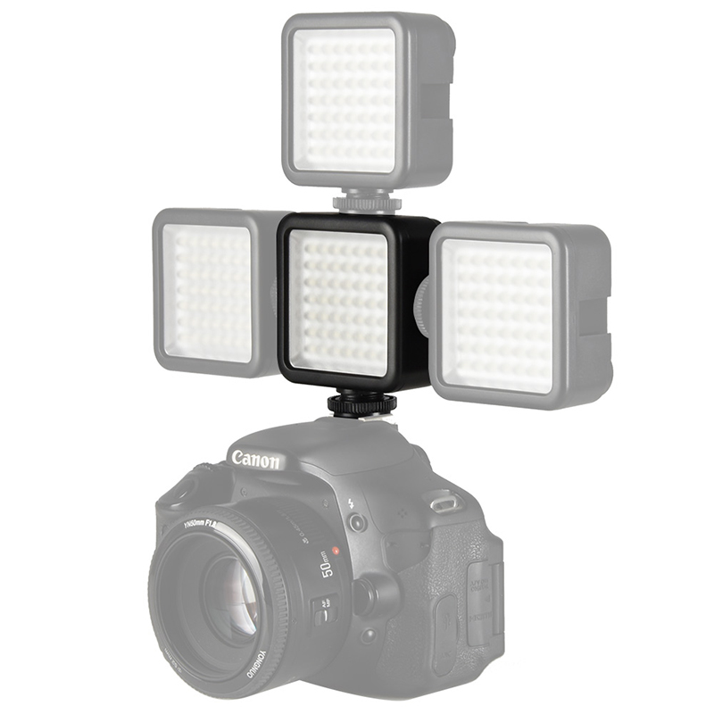 Мини светодиодная лампа Ulanzi W49 для видеосъемки с 3 горячими башмаками для цифровой зеркальной фотокамеры, ночное освещение для Nikon, Canon, Sony