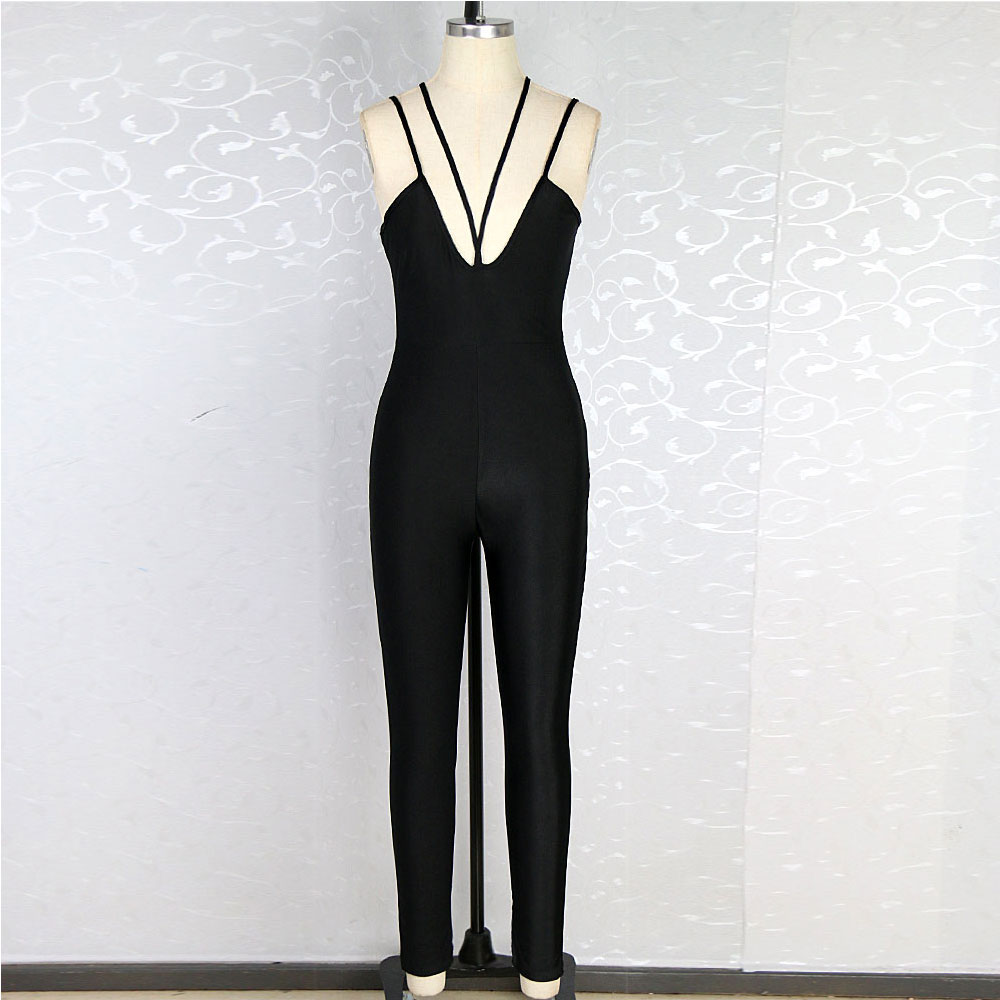 d83638c66d8 Polyester Sleeveless Sexy Low Cut V Neck Women Jumpsuit Long Pants Black  White Skin Tight Pants Stretch Full Bodysuit-in Jumpsuits from Women s  Clothing on ...