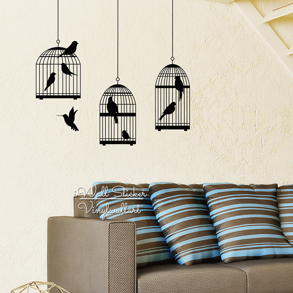 Bird Cages Wall Sticker Modern Birds Cage