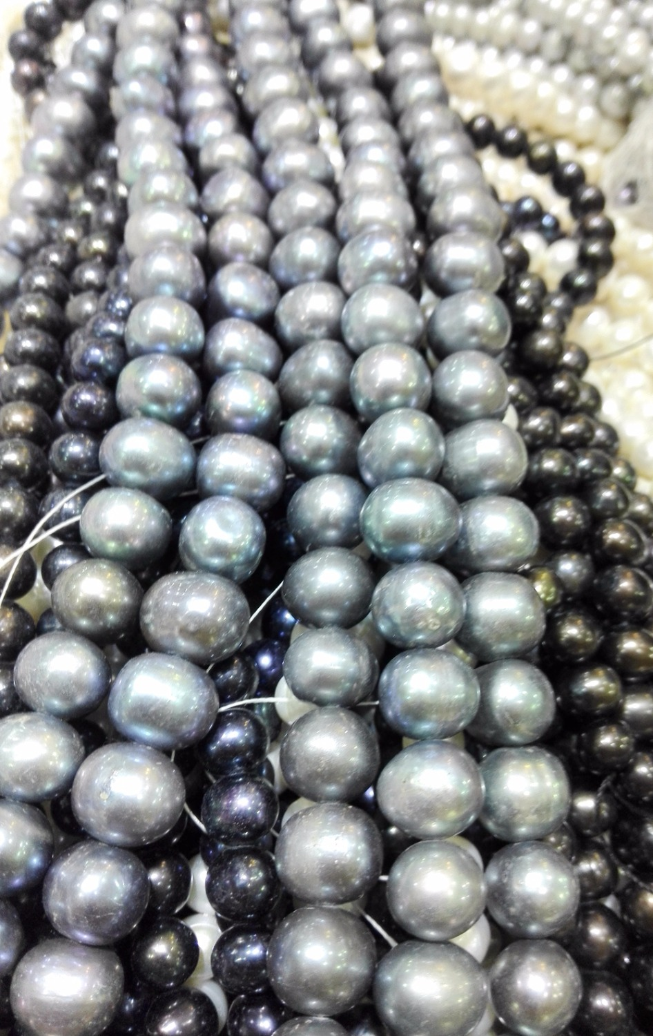 One Strands Real Pearl 12mm Bright dark gray Pearl Natural Freshwater Pearl loose beads 35cm 15inch