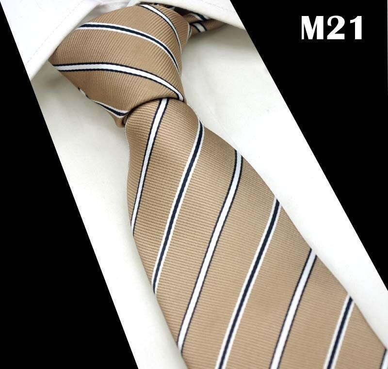 SCST Brand Cravate Classic White Striped Print Apricot Silk Ties For Men Tie Mens Wedding Neckties Slim Necktie Gravata CR034