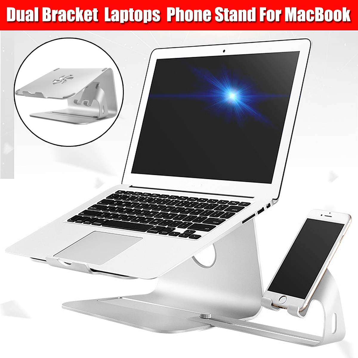 Double Bracket Aluminum Alloy Notebook Laptops Stand Desktop Holder for Laptop Notebook Mobile phone laptop stand increased base foldable rotation mobile phone holder portable heat dissipation bracket simple desktop computer tray