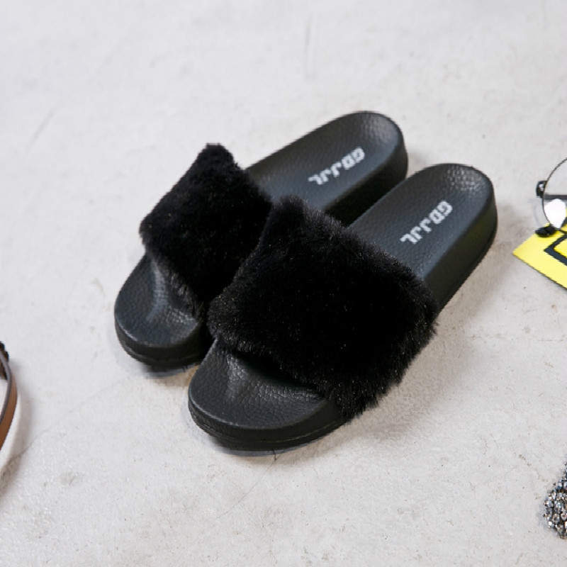 Nastoletnie Dziewczyny Moda Lato Faux Fur Kryte Zjeżdżalnie - Obuwie dziecięce - Zdjęcie 3