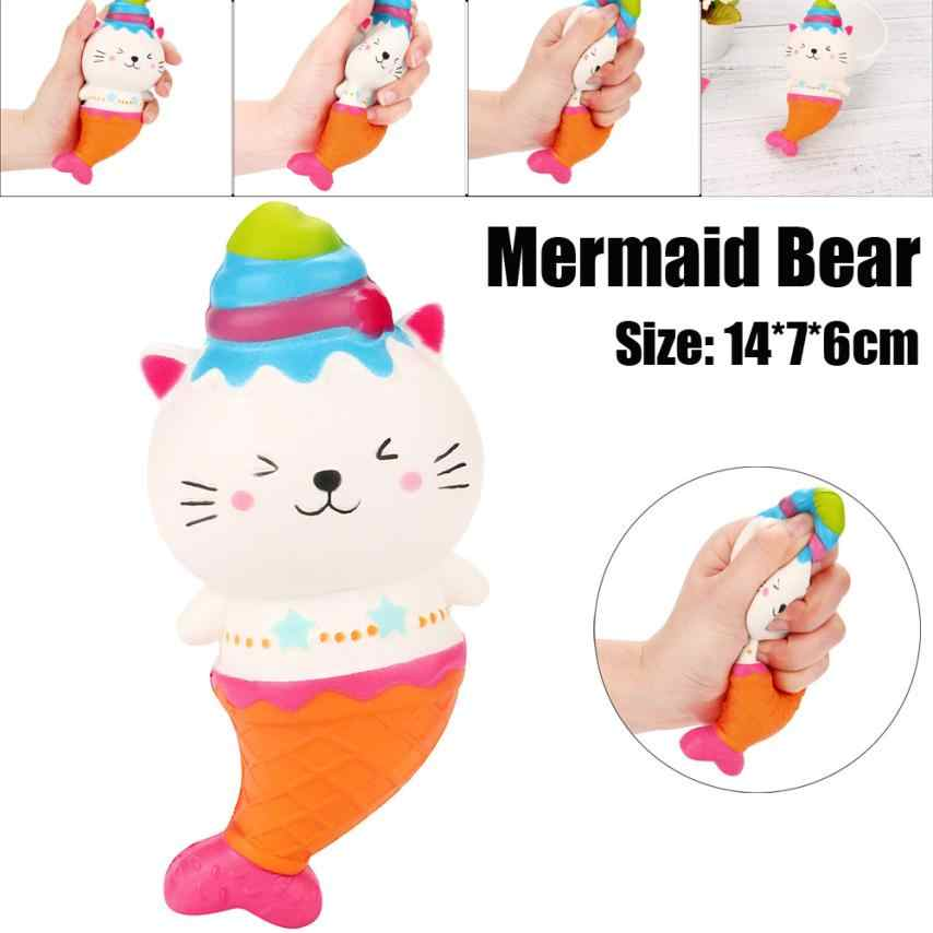 Mermaid Bear Cream Scented Squishy Charms Milk Bag Toy Slow Rising for Children Adults Relieves Stress Anxiety Cabinet Decor