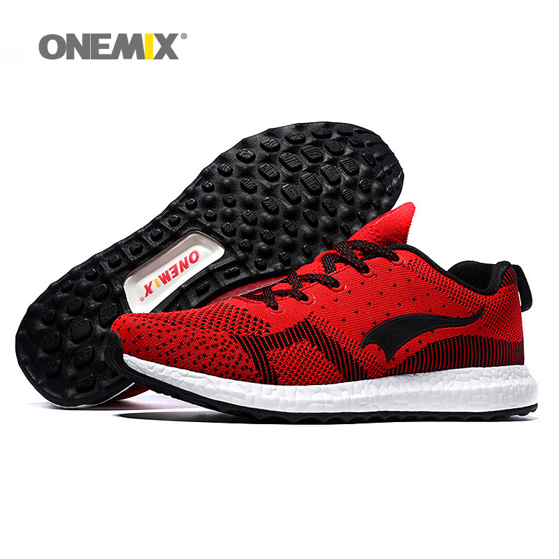 ONEMIX Free Ship Women Running Shoes For Men Mesh Athletic Trainers Black Red Zapatillas Run Sport Shoe Outdoor Walking Sneakers new onemix breathable mesh running shoes for men women light lady trainers walking outdoor sport comfortable sneakers