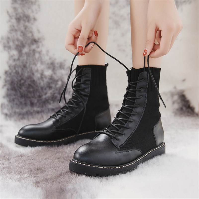 COOTELILI Women Shoes Boots Platform Lace-Up Girls Fashion Ankle PU