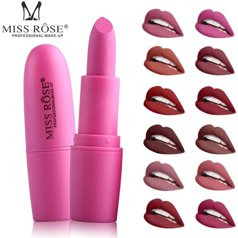 Miss rosa sexy nude vermelho fosco batom impermeável veludo lábio vara longa duração pigmentos marrons maquiagem fácil de usar lábios de beleza