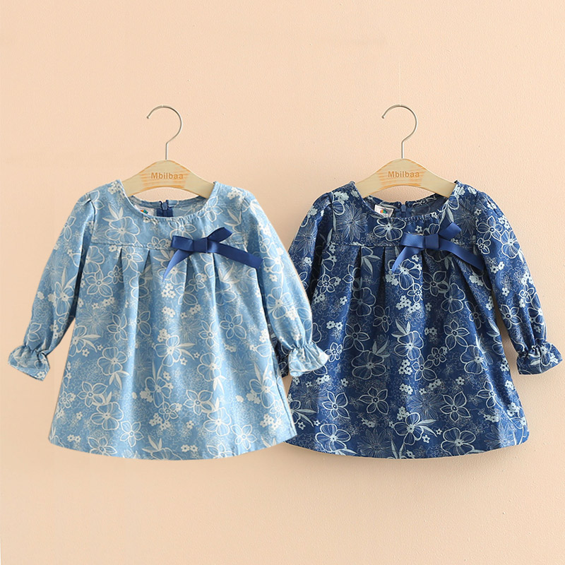 2018 Spring Autumn 2-10T Years Child Kids Birthday Gift O Neck Long-Sleeve Flower Print Denim Blue Colour Bow Cute Girls Shirt