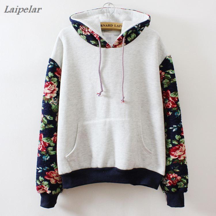 2018 hot sell Retro flower 39 s sleeve color hoodies sweatshirt for women lady streetwear wholesale 3 color hooded Folk style in Hoodies amp Sweatshirts from Women 39 s Clothing